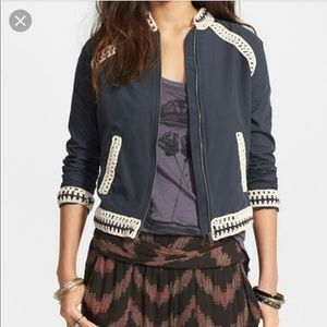 Free People Bomber Jacket With Crochet Trim B4